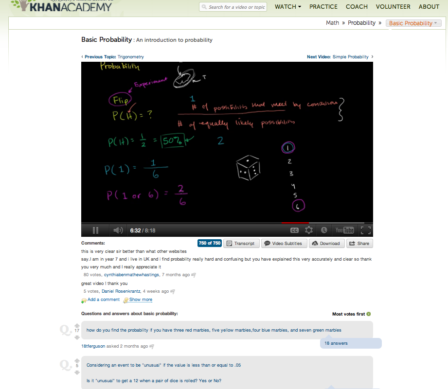 Khan Academy Video On Probabilty